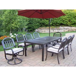 Hometown Cushioned 10-Piece Outdoor Dining Set with 10 ft Orange Umbrella