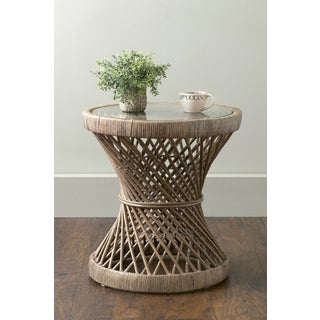 East At Mainu0027s Shively Brown Round Transitional Rattan Accent Table