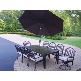 Hometown 11 Pc Dining Set with Table, 6 Cushioned Chairs, 2 Cushioned Swivel Chairs and Brown Umbrella with Stand