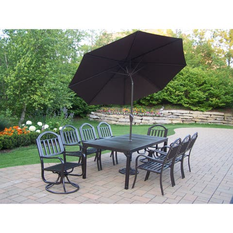 11 Pc Dining Set with Table, 6 Chairs, 2 Swivels, Umbrella and Stand