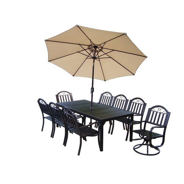 Hometown 11-Piece Outdoor Dining Set with Beige Umbrella