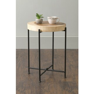 East At Main's Rico Brown Round Transitional Teakwood Accent Table