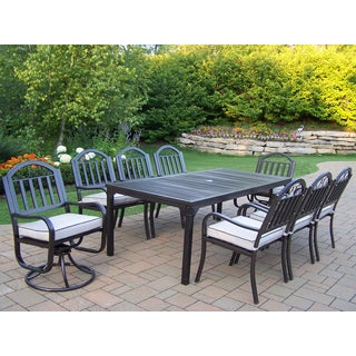 Hometown 9 Pc Dining Set with Rectangle Table, 6 Cushioned Chairs and 2 Cushioned Swivel Chairs
