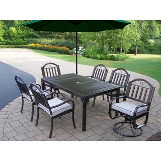 Hometown 8 Pc Dining Set with Rectangle Table, 4 Cushioned Chairs, 2 Cushioned Swivel Chairs and Green Umbrella with Base