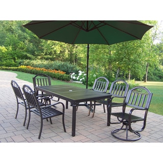 8 Pc Dining Set with Table, 4 Chairs, 2 Swivels, Umbrella and Base