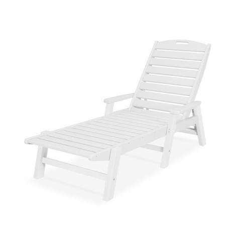 POLYWOOD® Nautical Outdoor Chaise Lounge with Arms, Stackable, NCC2280