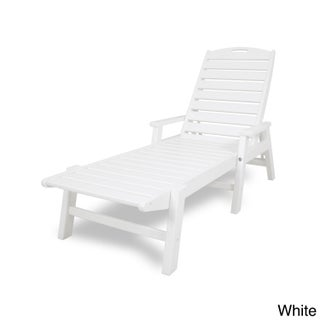 Polywood Nautical Polyethylene Stackable Chaise Lounge with Arms