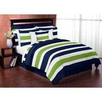 Sweet Jojo Designs Navy Blue and Lime Green Stripe King 3-piece Comforter Set