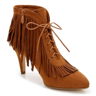 Rosewand Women's Trancas Almond Faux Leather Fringed Bootie