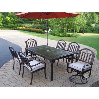 Hometown 8 Pc Dining Set with Table, 4 Cushioned Chairs, 2 Cushioned Swivel Chairs and Orange Umbrella with Base
