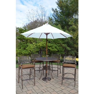 Merit 7-Piece Outdoor Bar Height Dining Set with 9 ft White Umbrella