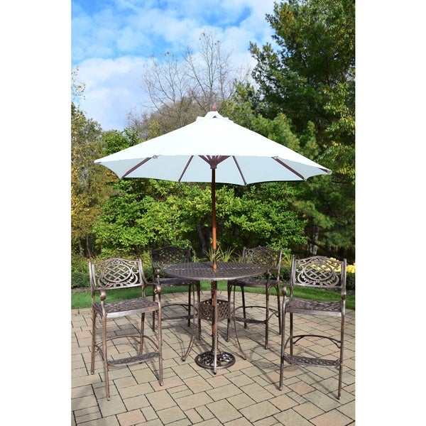 7 Pc Bar Set with Round Table, 4 Bar Chairs, Umbrella and Stand