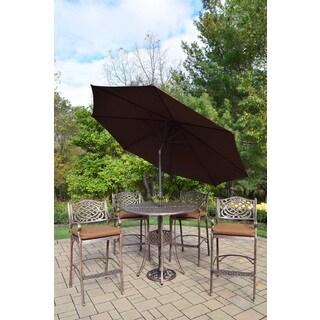 7 Pc Bar Set, Round Table, 4 Cushioned Bar Chairs, Umbrella and Stand
