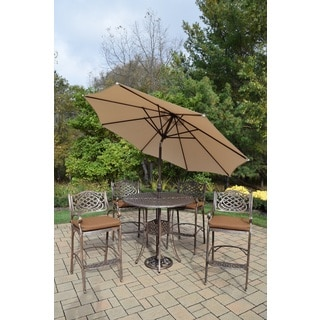 Merit 7-Pc Bar Set w/ Round Table, 4 Sunbrella Cushioned Bar Chairs and Beige Umbrella w/ Stand
