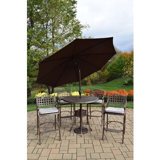 Merit 7 Pc Bar Set with Round Table, 4 Oatmeal Toned Cushioned Bar Stools and Brown Umbrella with Stand