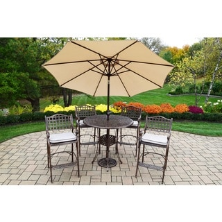 Merit 7 Pc Bar Set with Round Table,4 Oatmeal Toned Cushioned Bar Stools and Beige Umbrella with Stand