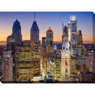 """Philadelphia, Pennsylvania, USA Downtown Skyline"" Giclee Print Canvas Wall Art"