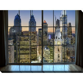 """Philadelphia, Pennsylvania, USA Downtown Skyline Window"" Giclee Print Canvas Wall Art"