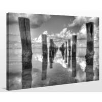 """Old Fishing Pier and Clouds"" Giclee Print Canvas Wall Art"