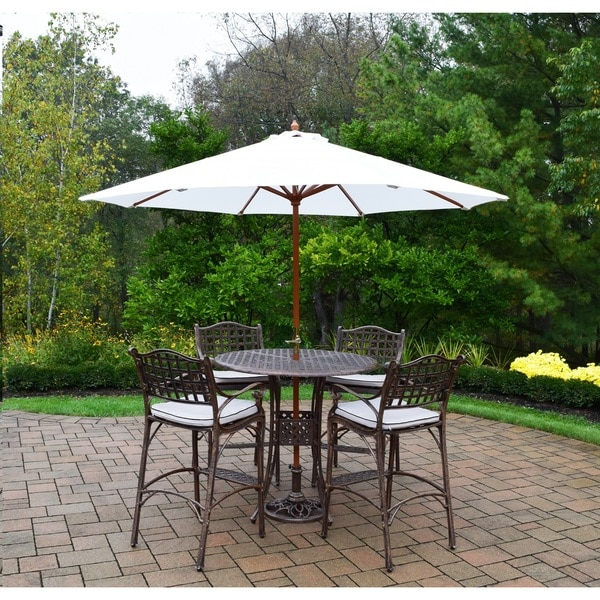Merit 7 Piece Outdoor Bar Height Dining Set With 9 Ft White Umbrella