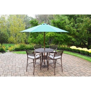 Merit 7 Pc Bar Set with Round Table, 4 Oatmeal Toned Cushioned Bar Stools and Green Wooden Umbrella with Stand