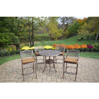 Merit 5 Pc Bar Set with Round Table and 4 Sunbrella Cushioned Bar Stools