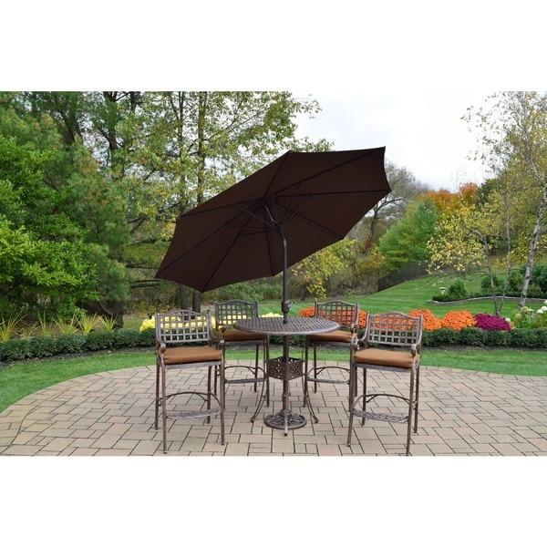 Shop Merit 7 Piece Outdoor Bar Height Dining Set With Brown Umbrella