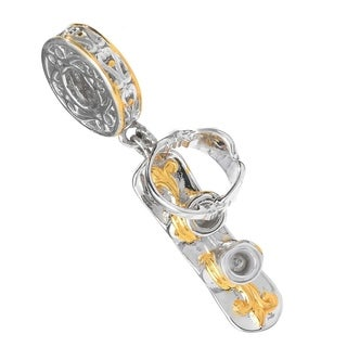 Michael Valitutti Palladium Silver Two-tone Snowboard Drop Charm