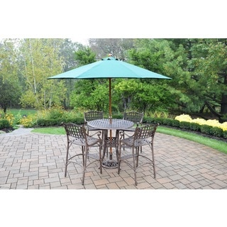 Merit 7 Pc Bar Set with Round Table, 4 Bar Stools and Green Wooden Umbrella with Stand