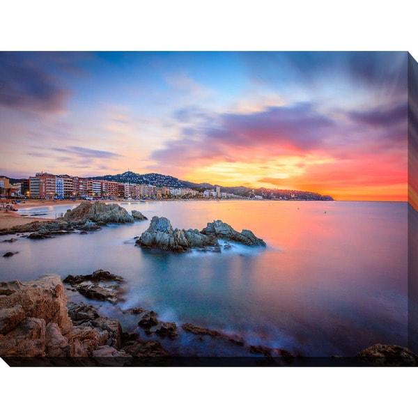 """Sunset over Lloret de Mar, Catalonia, Spain"" Giclee Print Canvas Wall Art"