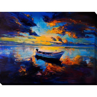 """Sky sunset and boat on the water"" Giclee Print Canvas Wall Art"