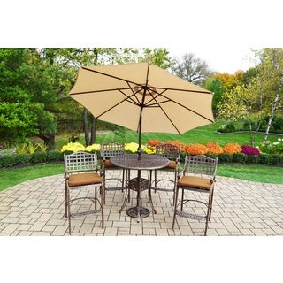 7 Pc Bar Set with Round Table, 4 Bar Stools, Umbrella and Stand