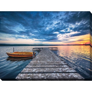 """Small Dock and Boat 1"" Giclee Print Canvas Wall Art"