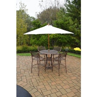 Merit 7 Pc Bar Set with Round Table, 4 Bar Stools and White Wooden Umbrella with Stand