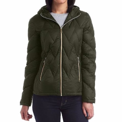 Michael Kors Women's Olive Nylon and Down Chevron Quilted Packable Jacket