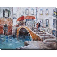 """""""The Bridge With Lovers"""" Giclee Print Canvas Wall Art"""