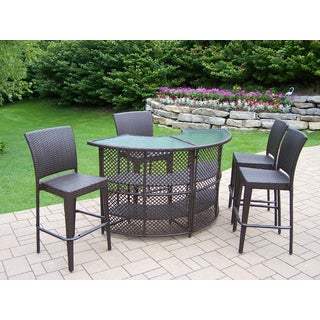 Merit Resin Wicker 5 Pc Bar Set with Bar Table and 4 Bar Stools