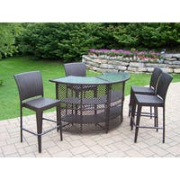 Resin Wicker 5 Pc Bar Set with Bar Table and 4 Bar Stools