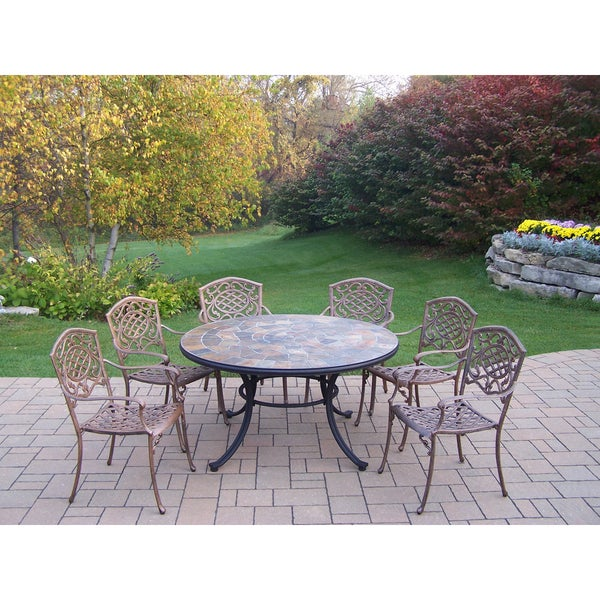 Shop Dakota 7 Pc Dining Set W Stone Top Table 6 Stackable Chairs