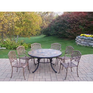 Dakota 7-Pc. Dining Set w/ Stone-Top Table, 6 Stackable Chairs