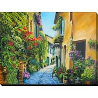 """Flower Street in Italy"" Giclee Print Canvas Wall Art"