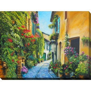 """""""Flower Street in Italy"""" Giclee Print Canvas Wall Art"""