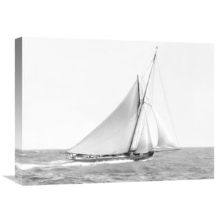 Global Gallery 'Cutter Sailing on the Ocean, 1910' Black/White Canvas Artwork