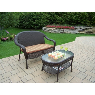 Merit Resin Wicker Brown Striped Cushioned Loveseat and Oval Coffee Table