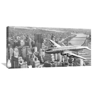 Global Gallery 'Flying over Manhattan, NYC' Canvas Wall Art