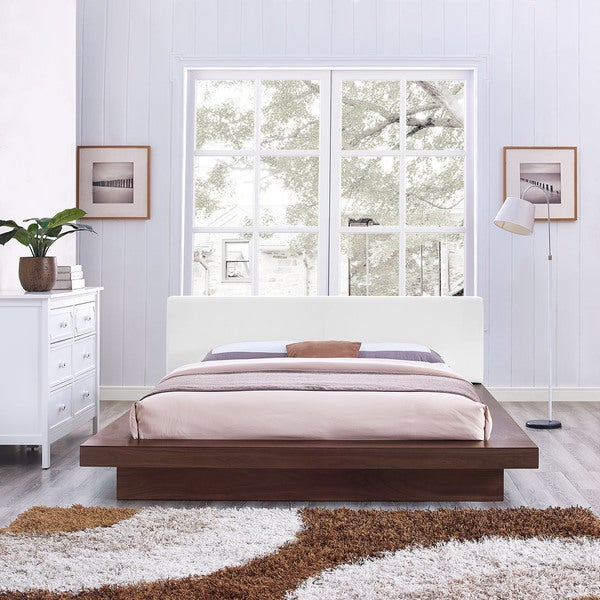 Freja Vinyl Platform Bed in Walnut White