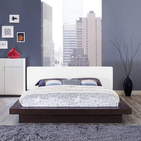 Freja Vinyl Platform Bed in Cappuccino White