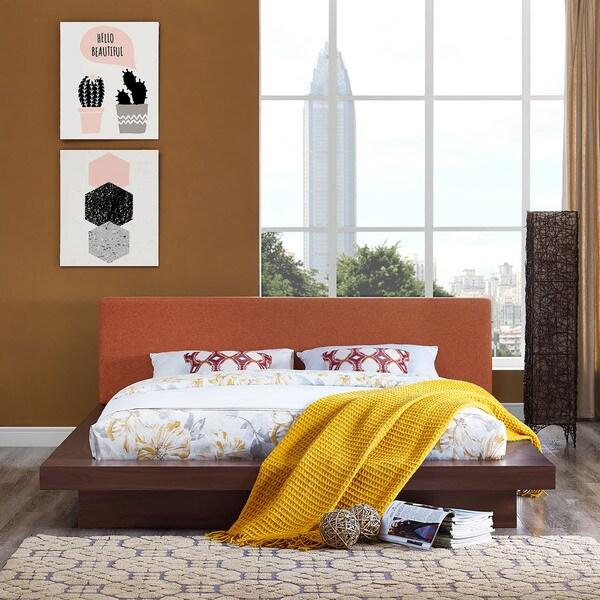 Shop Freja Fabric Platform Bed In Walnut Orange Free