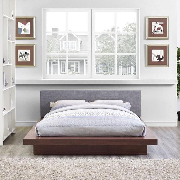 Freja Fabric Platform Bed in Walnut Gray Size - Queen