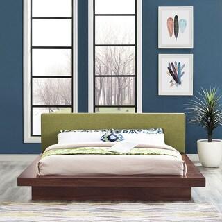 Freja Fabric Platform Bed in Walnut Green